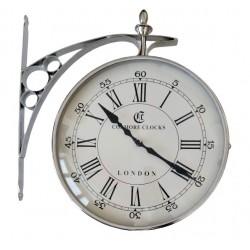 Duży niklowany  zegar dworcowy