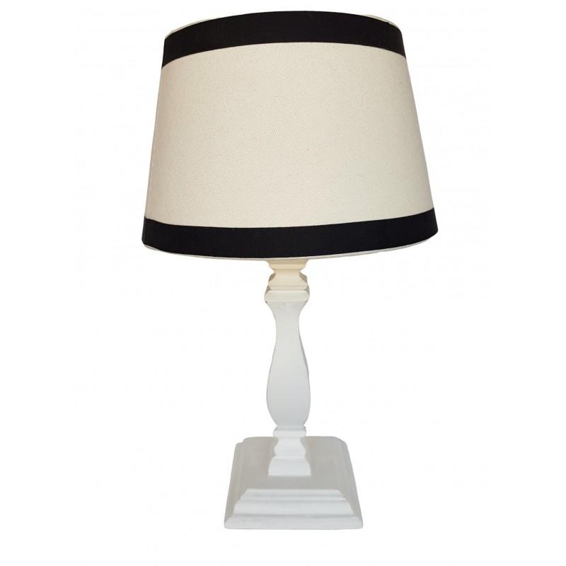 Drewniana biała lampka nocna do sypialni