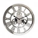 Elegancki duży 61cm niklowany zegar do salonu lub jadalni