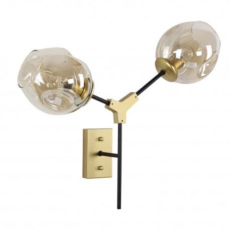 Modny nowoczesny kinkiet czarno złoty szklane klosze