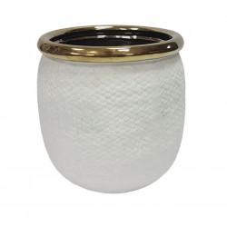 Biała doniczka ceramiczna H16 ze złotą lamówką
