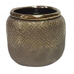 Art Deco modna doniczka ceramiczna H13 ze złotą lamówką