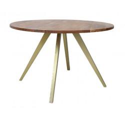 Stół do jadalni Ø120x78 drewniany blat złote nogi