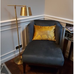 Lampa podłogowa Art Deco złota patynowana mosiądz