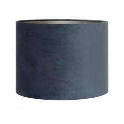 Lususowy szaro niebieski welurowy abazur Ø30 lampa stojąca-stołowa