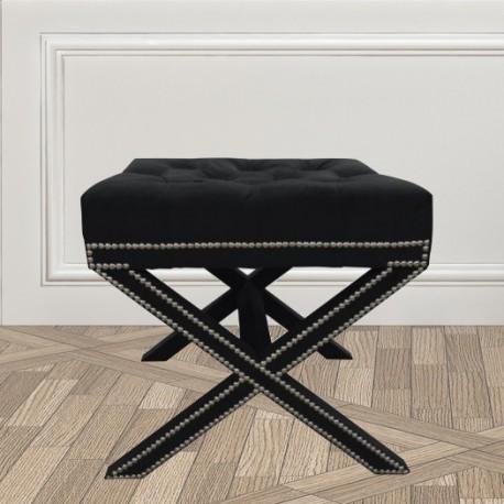 Czarna welurowa pufa nogi krzyżakowe Glamour New York