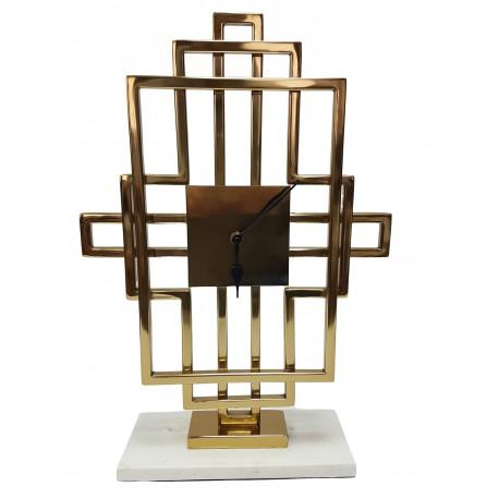 Stojący złoty zegar Art Deco na białym marmurze