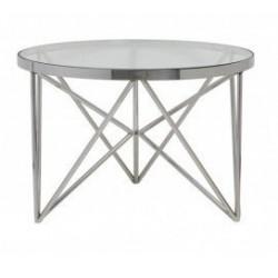 Niklowany okrągły stolik kawowy lub boczny