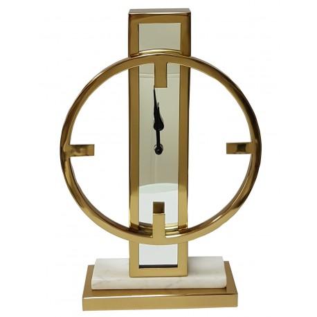 Zegar stojący złoty z lustrem i marmurem