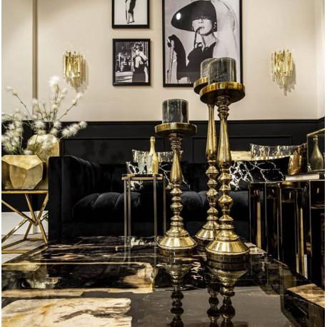Kinkiet szklany art deco w złotym kolorze