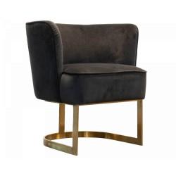 Krzesło fotel do jadalni tapicerowany złoty stelarz do jadalni
