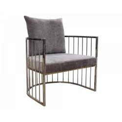 Fotel tapicerowany szary na srebrnych metalowych nogach