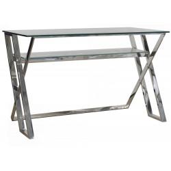 Luksusowe biurko szklane srebrne