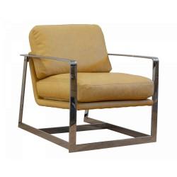 Fotel ze skóry na srebrnych metalowych nogach