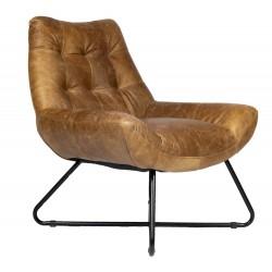 Fotel skórzany do salonu w klimacie Boho Etno