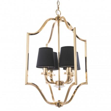 Elegancka złota lampa wisząca czarne abażurki
