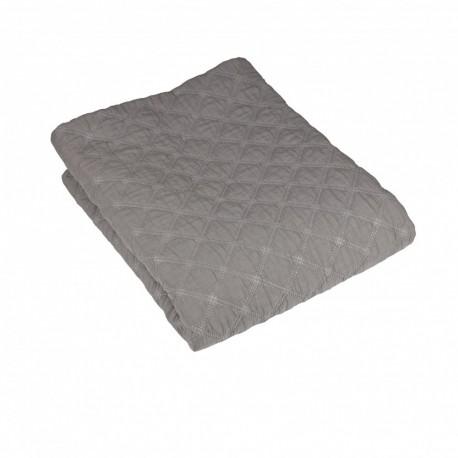 Szara duża narzuta na łóżko pikowana