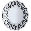 Lustro okrągłe glamour 89cm w lustrzanej ramie do przedpokoju
