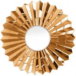 Okrągłe lustro nowoczesne w lustrzanej ramie glamour