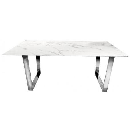 Stół do jadalni z białym marmurowym blatem 180x90