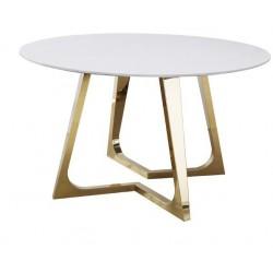 Biały okrągły stół marmurowy do jadalni - Stół na złotych nogach