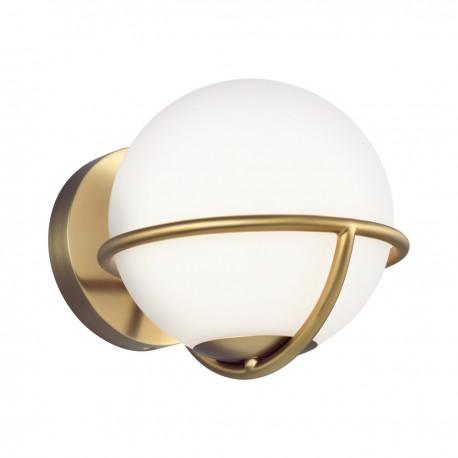 Nowoczesny złoty kinkiet biała kula