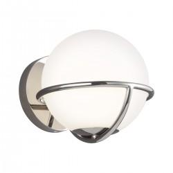 Nowoczesny srebrny kinkiet biała kula