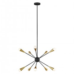 Żyrandol czarno złoty nowoczesny sputnik