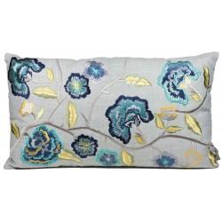 Luksusowa poduszka Boho haftowane kwiaty 60x35