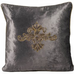 Art Deco haftowana 45x45 brązowa poduszka dekoracyjna