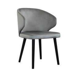 Czarne tapicerowane krzeso do salonu i jadalni pionowe przeszycia