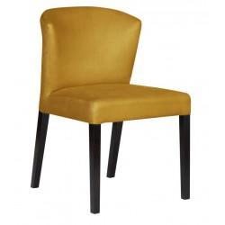 Desingierskie welurowe żółte krzesło tapicerowane
