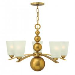 Złoty żyrandol kule ze szklanym i kloszami