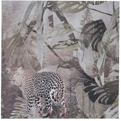 Panel ścienny 45X45 obraz z tkaniny Boho dżungla pantera