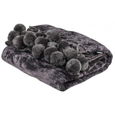 Luksusowy szary pled z pomponami