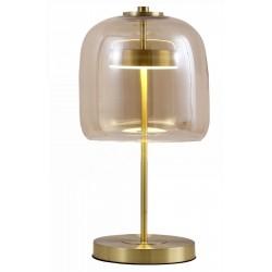 Nowoczesna lampa stołowa led szklana złota podstawa