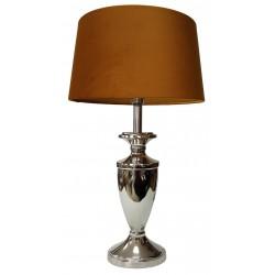 Niklowana lampa stołowa glamour do salonu