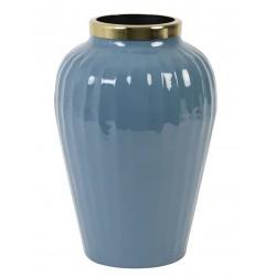Elegancki niebieski wazon metalowy Hampton