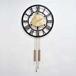 Zegar ścienny złoty z wahadłem Art Deco