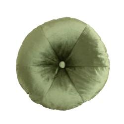 W stylu Boho welurowa okrągła poduszka z guzikem zielona