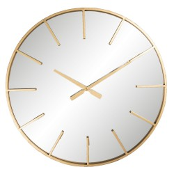 Złoty zegar ścienny lustrzany