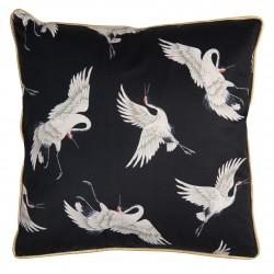 Luksusowa czarna poduszka Boho - ptaki