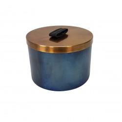 Eleganckie metalowe pudełko złote-turkusowe
