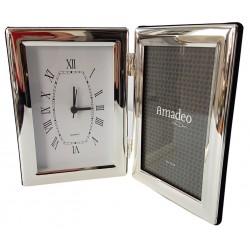 Elegancka srebrna ramka na zdjęcia z zegarem
