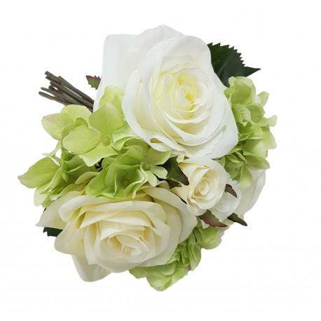 Mały bukiet kwiatów biała róża chortensja