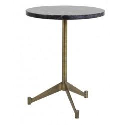 Stolik okrągły złoty z marmurowym blatem h51