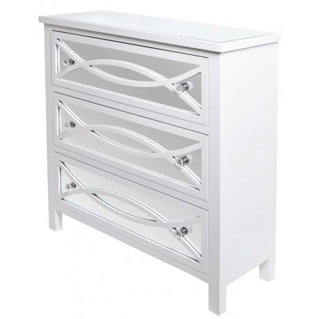 Biała komoda z szufladami i lustrem Hampton