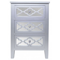 Elegancka szafka nocna srebrna z szufladami