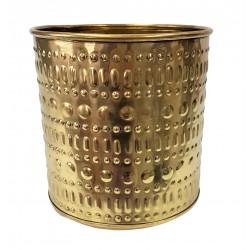 Art Deco metalowa złota osłonka na doniczkę