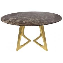 Okrągły stół z marmurowym blatem złoty